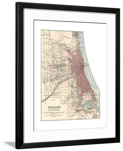 Map of Chicago (C. 1900), Maps-Encyclopaedia Britannica-Framed Art Print