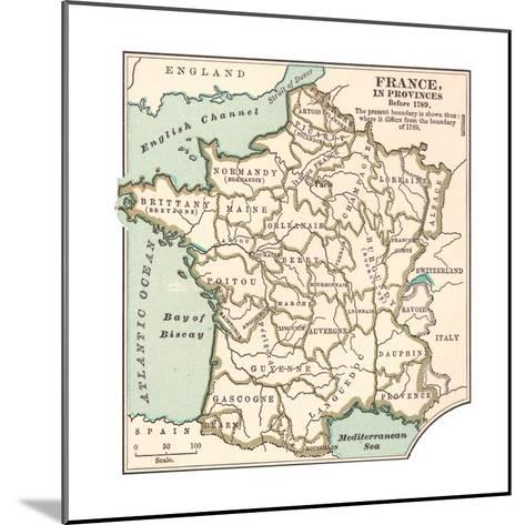 Inset Map of France in Provinces before 1789-Encyclopaedia Britannica-Mounted Giclee Print