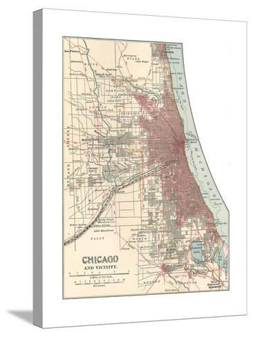 Map of Chicago (C. 1900), Maps-Encyclopaedia Britannica-Stretched Canvas Print