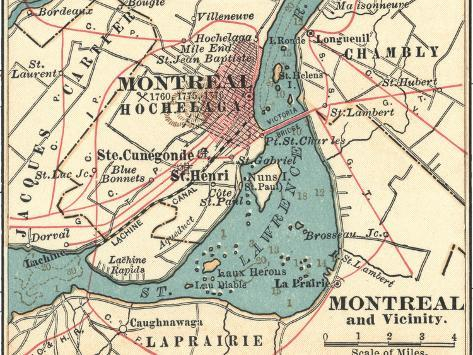 Map of Montreal (C. 1900), Maps-Encyclopaedia Britannica-Stretched Canvas Print