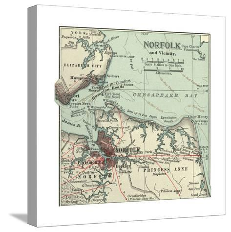 Map of Norfolk-Encyclopaedia Britannica-Stretched Canvas Print