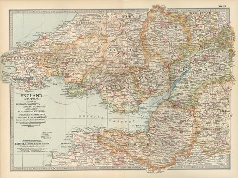 Plate 11. Map of England and Wales-Encyclopaedia Britannica-Stretched Canvas Print