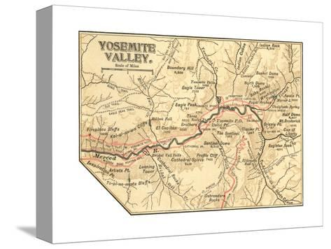 Map of Yosemite Valley (C. 1900), Maps-Encyclopaedia Britannica-Stretched Canvas Print