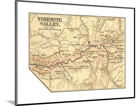 Map of Yosemite Valley (C. 1900), Maps-Encyclopaedia Britannica-Mounted Giclee Print