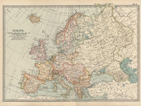Plate 2. Map of Europe-Encyclopaedia Britannica-Stretched Canvas Print