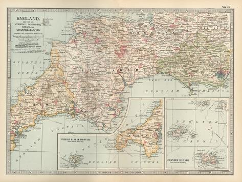 Plate 13. Map of England-Encyclopaedia Britannica-Stretched Canvas Print
