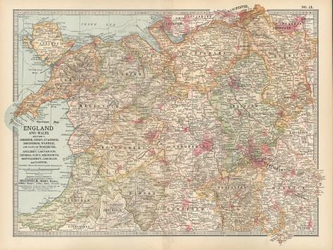 Plate 12. Map of England and Wales-Encyclopaedia Britannica-Stretched Canvas Print