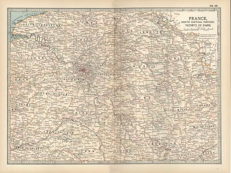 Plate 19. Map of France-Encyclopaedia Britannica-Stretched Canvas Print