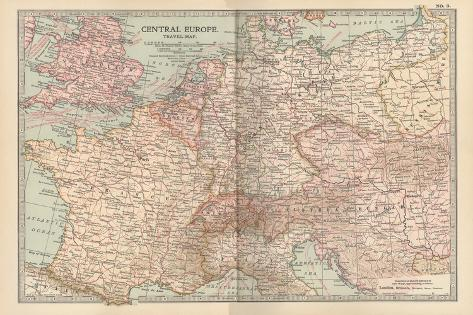 Plate 3. Travel Map of Central Europe-Encyclopaedia Britannica-Stretched Canvas Print