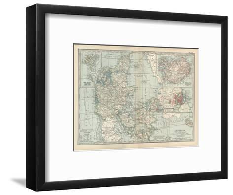 Plate 25. Map of Denmark. Insets of Iceland-Encyclopaedia Britannica-Framed Art Print