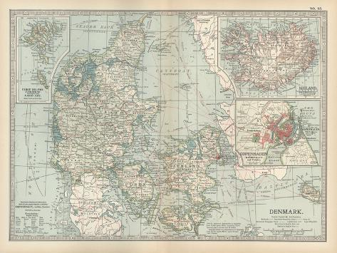 Plate 25. Map of Denmark. Insets of Iceland-Encyclopaedia Britannica-Stretched Canvas Print