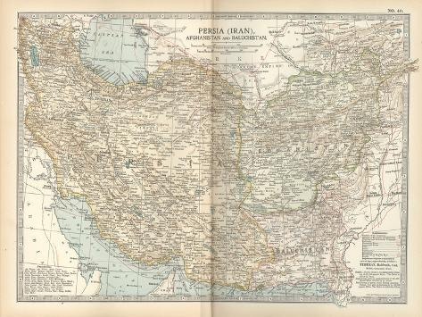 Map of Persia (Iran), Afghanistan and Baluchistan-Encyclopaedia Britannica-Stretched Canvas Print