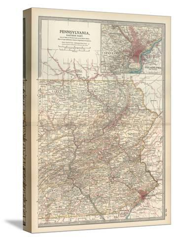 Map of Pennsylvania, Eastern Part. United States. Inset Map of Philadelphia and Vicinity-Encyclopaedia Britannica-Stretched Canvas Print