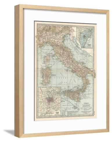 Map of Italy. Insets of Rome (Roma) and Vicinity, and Venice (Venezia) and Vicinity-Encyclopaedia Britannica-Framed Art Print