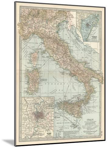 Map of Italy. Insets of Rome (Roma) and Vicinity, and Venice (Venezia) and Vicinity-Encyclopaedia Britannica-Mounted Giclee Print