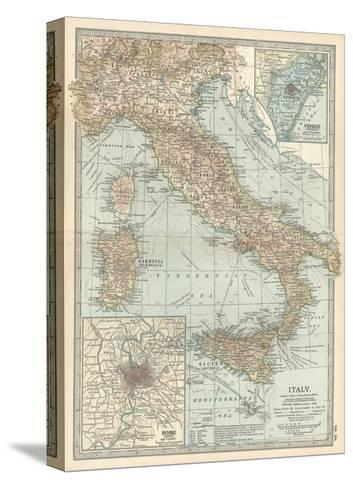 Map of Italy. Insets of Rome (Roma) and Vicinity, and Venice (Venezia) and Vicinity-Encyclopaedia Britannica-Stretched Canvas Print