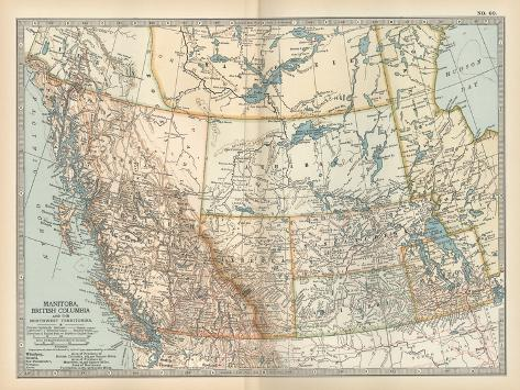 Plate 60. Map of Canada-Encyclopaedia Britannica-Stretched Canvas Print