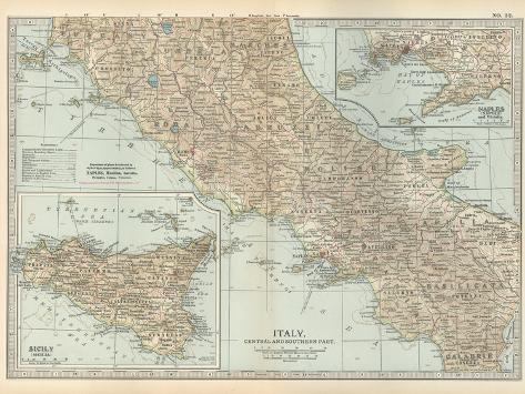 Map of Italy. Central and Southern Part. Insets of Sicily (Sicilia) and Naples (Napoli)-Encyclopaedia Britannica-Stretched Canvas Print