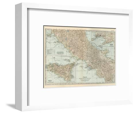 Map of Italy. Central and Southern Part. Insets of Sicily (Sicilia) and Naples (Napoli)-Encyclopaedia Britannica-Framed Art Print
