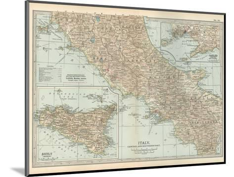 Map of Italy. Central and Southern Part. Insets of Sicily (Sicilia) and Naples (Napoli)-Encyclopaedia Britannica-Mounted Giclee Print