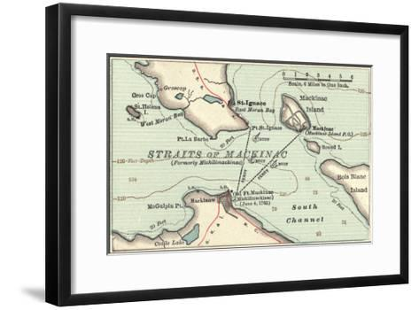 Inset Map of Mackinac Island and the Straits of Mackinac, Michigan-Encyclopaedia Britannica-Framed Art Print