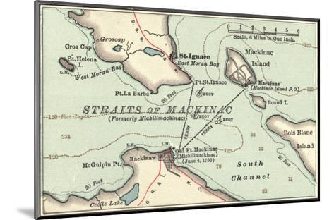 Inset Map of Mackinac Island and the Straits of Mackinac, Michigan-Encyclopaedia Britannica-Mounted Giclee Print