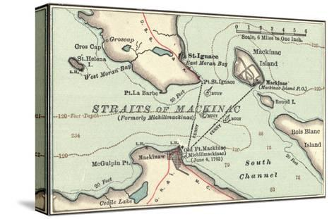 Inset Map of Mackinac Island and the Straits of Mackinac, Michigan-Encyclopaedia Britannica-Stretched Canvas Print