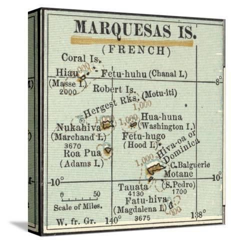 Inset Map of Marquesas Islands (French). Oceania. South Pacific-Encyclopaedia Britannica-Stretched Canvas Print