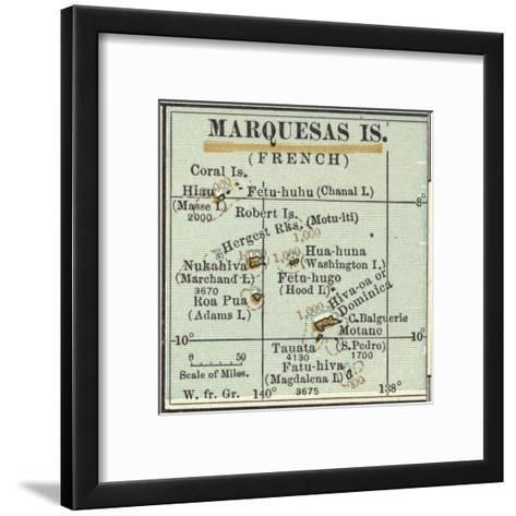Inset Map of Marquesas Islands (French). Oceania. South Pacific-Encyclopaedia Britannica-Framed Art Print