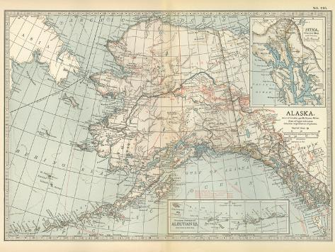 Map of Alaska. United States. Inset Maps of Sitka, and Aleutian Islands-Encyclopaedia Britannica-Stretched Canvas Print