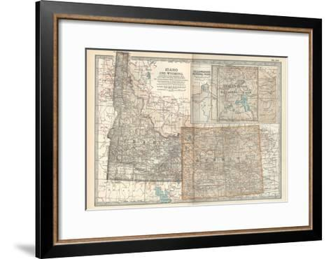 Map of Idaho and Wyoming. United States. Inset Map of Yellowstone National Park-Encyclopaedia Britannica-Framed Art Print