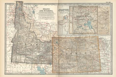 Map of Idaho and Wyoming. United States. Inset Map of Yellowstone National Park-Encyclopaedia Britannica-Stretched Canvas Print