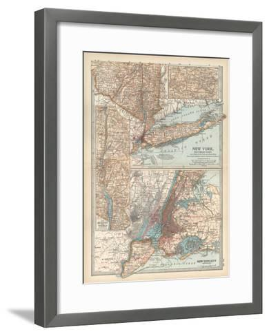 Plate 69. Map of New York State-Encyclopaedia Britannica-Framed Art Print