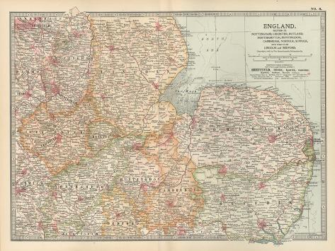 Plate 8. Map of England-Encyclopaedia Britannica-Stretched Canvas Print