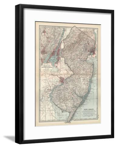 Plate 72. Map of New Jersey. United States. Inset Map of Jersey City-Encyclopaedia Britannica-Framed Art Print