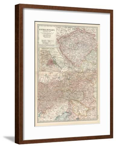Map of Austria-Hungary, Western Part. Inset of Vienna (Wien) and Vicinity-Encyclopaedia Britannica-Framed Art Print