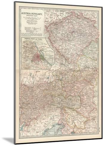 Map of Austria-Hungary, Western Part. Inset of Vienna (Wien) and Vicinity-Encyclopaedia Britannica-Mounted Giclee Print