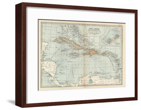 Plate 117. Map of the West Indies. Inset Map of the Berudas-Encyclopaedia Britannica-Framed Art Print