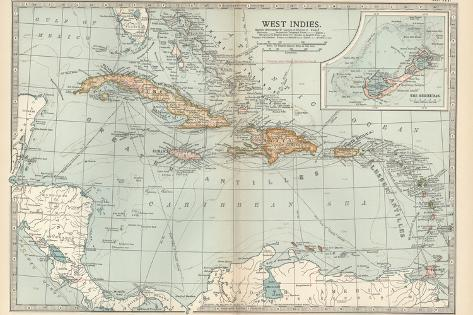 Plate 117. Map of the West Indies. Inset Map of the Berudas-Encyclopaedia Britannica-Stretched Canvas Print