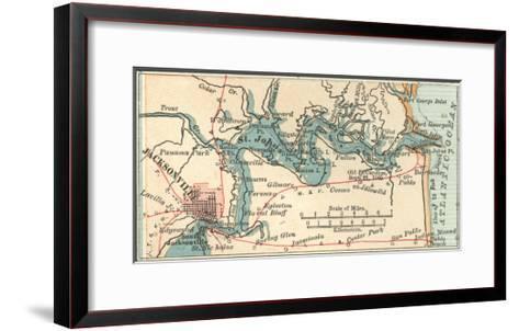 Inset Map of Jacksonville, Florida-Encyclopaedia Britannica-Framed Art Print