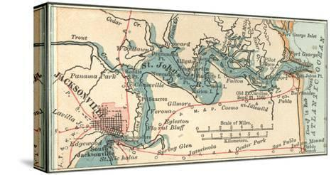Inset Map of Jacksonville, Florida-Encyclopaedia Britannica-Stretched Canvas Print