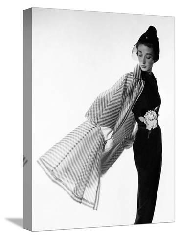 Vogue - April 1950 - Coat Flip-Cecil Beaton-Stretched Canvas Print