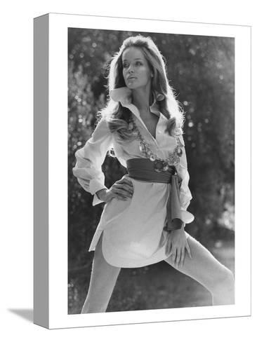 Vogue - January 1969 - Veruschka Wearing Shirtdress-Franco Rubartelli-Stretched Canvas Print