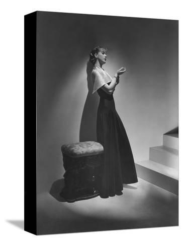 Vogue - December 1934 - Lanvin Gown Posed Beside Stairs-Horst P. Horst-Stretched Canvas Print