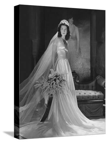 Mrs. John Simms Kelly (Brenda Frazier) in Wedding Gown--Stretched Canvas Print