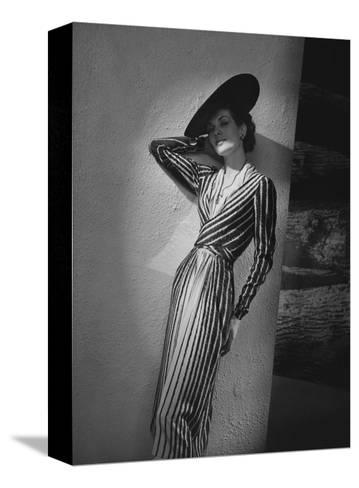 Vogue - March 1938 - Vertical Striped Dress by Lelong-Andr? Durst-Stretched Canvas Print