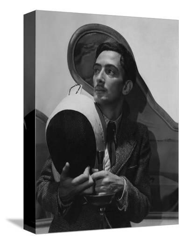 Vogue - November 1936 - Salvador Dali with Fencing Helmet-Cecil Beaton-Stretched Canvas Print