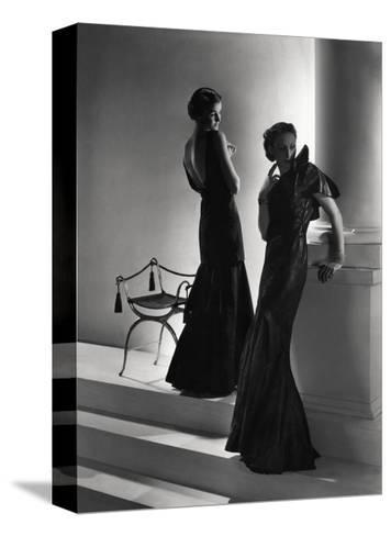 Models Wearing (From Left) Long Backless Dress with Two-Tiered Skirt by Worth--Stretched Canvas Print