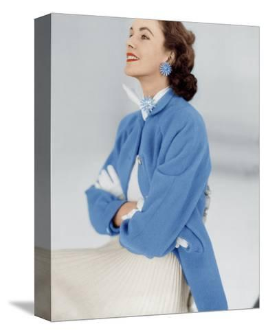 Model Wearing Stroock Fleece Turquoise Shirt Coat with Shirttails--Stretched Canvas Print