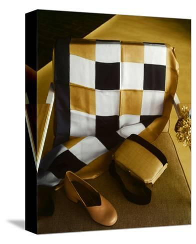 White, Gold and Black Checkered Silk Scarf, Shantung and Velvet Handbag, and Gold Kidskin Shoe--Stretched Canvas Print
